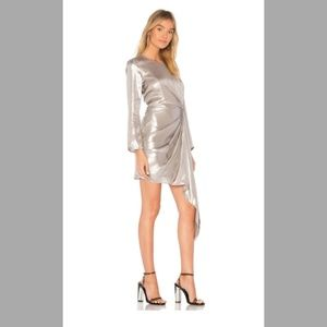 {Bardot}NWT Silver Asymmetrical Shimmer Dress 6